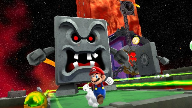 Super Mario Galaxy 2 Screenshot - Thwomp!