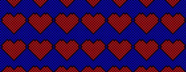 8 bit hearts artwork masthead