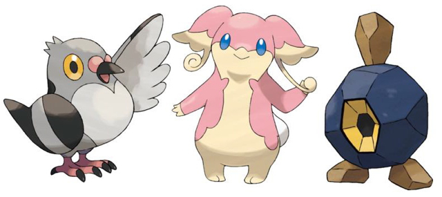Pokémon Black & White artwork for Pidove, Audino and Roggenrola