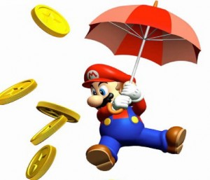 Mario with umbrella and coins artwork