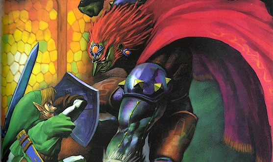 Ganondorf and Link confrontation artwork, Ocarina of Time