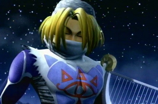 Sheik in Super Smash Bros Melee title sequence