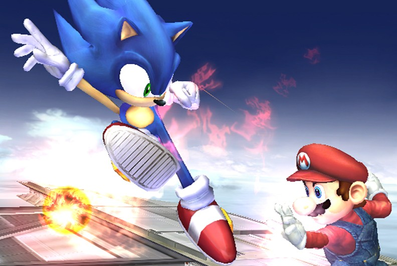 Sonic and Mario fighting in Super Smash Bros. Brawl