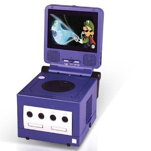 Nintendo GameCube with screen (playing Luigi's Mansion)