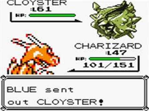 Pokémon Yellow screen, battle between Cloyster and Charizard