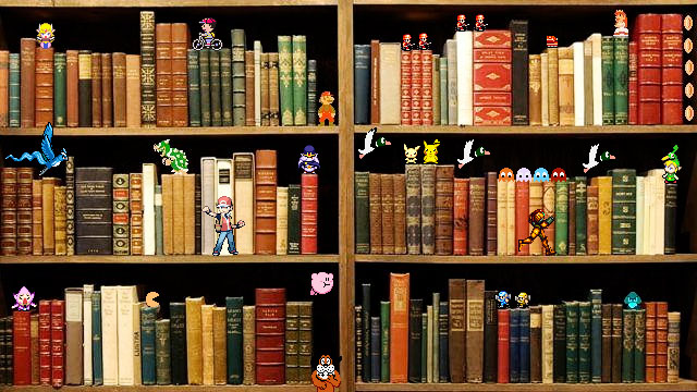Video game characters on a book shelf collage
