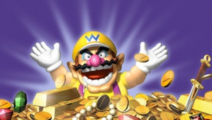 Wario bathing in treasure