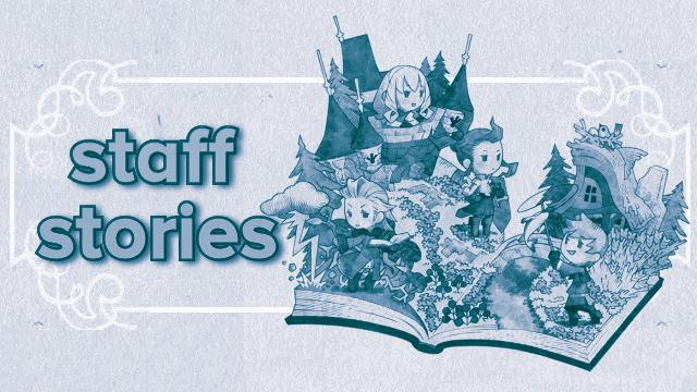 Staff Stories masthead, blue