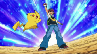 Pokémon Cartoon Ash Captures a Pokémon