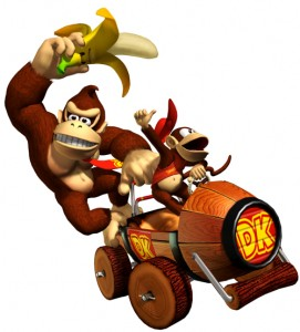 Donkey Kong and Diddy Kong and kart from Mario Kart: Double Dash