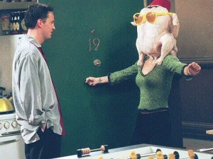 Monica from Friends with a turkey on her head, Thanksgiving episode