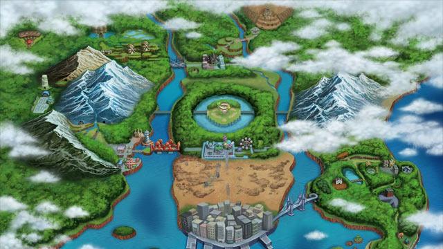 Pokemon Black and White Versions Artwork - Isshu Map