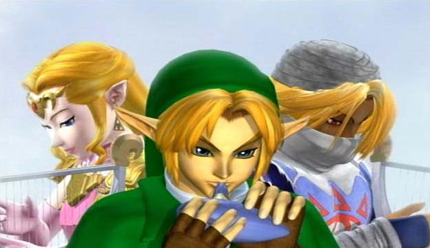 Link, Zelda and Sheik screen from Super Smash Bros. Melee opening video