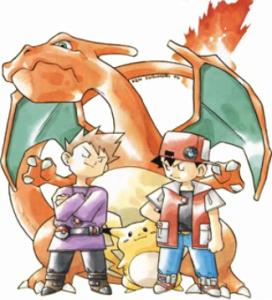 Sugimori artwork, Ash and Gary and Charizard and Pikachu