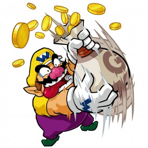 Wario with a bag of money, artwork