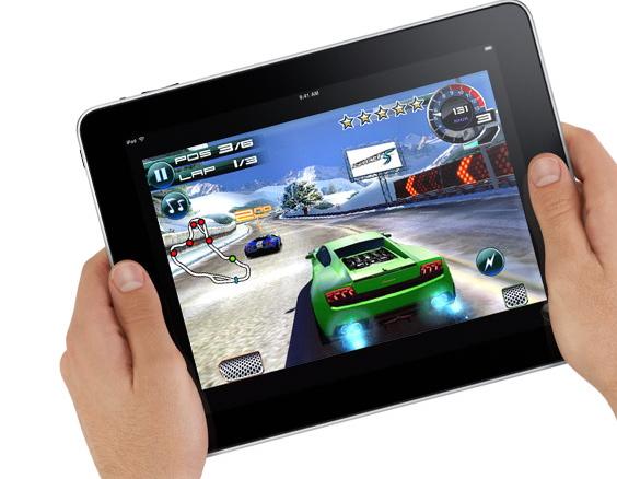 Promo shot of iPad racing game being played