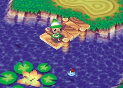 Animal Crossing: Wild World screen, girl fishing