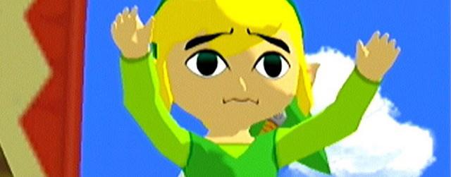 Cel Shaded Link (The Legend of Zelda: Wind Waker) waving worriedly