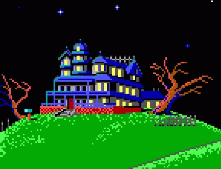 Maniac Mansion screen, featuring the mansion