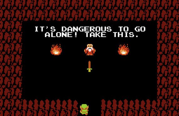 It's dangerous to go alone, take this The Legend of Zelda screen NES 8-bit funny
