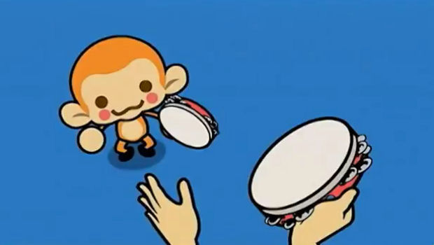 Rhythm Heaven Fever screenshot, monkey tambourine game