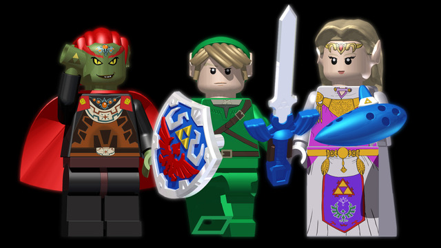 Ganondorf, Link, and Zelda Lego Minifigure concepts
