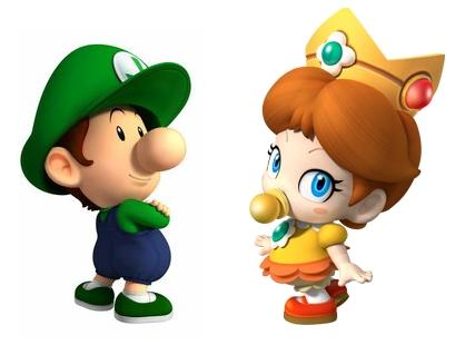 Baby Luigi and Baby Daisy artwork from Mario Kart Wii