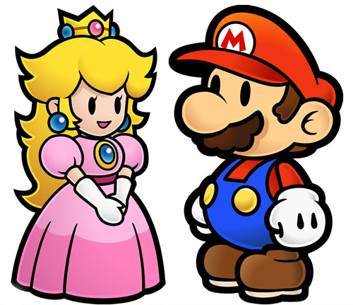 Peach and Mario, in paper form