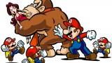 Donkey Kong abducting Pauline, while Mario pursues, in Mario vs Donkey Kong