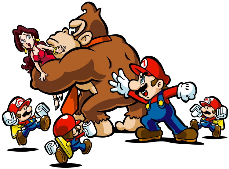 Donkey Kong abducting Pauline, while Mario pursues, in Mario vs Donkey Kong