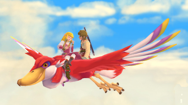 Link and Zelda on a Loftwing, on a date, in Zelda: Skyward Sword