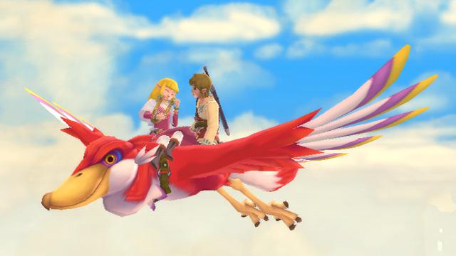 Link and Zelda on a Loftwing, on a date, in Zelda: Skyward Sword
