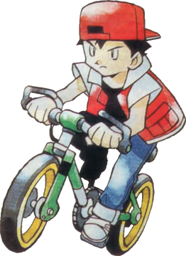 Pokémon Red and Blue bicycle trainer artwork