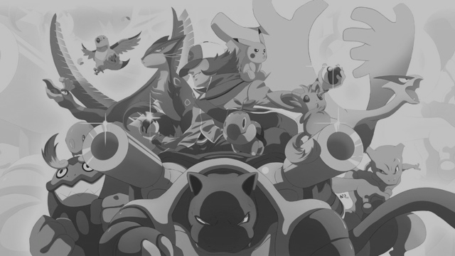 Pokémon trainer masthead, black and white